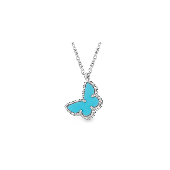 Van Cleef & Arpels 18K White Gold Butterfly Sweet Alhambra Necklace Length: 16""