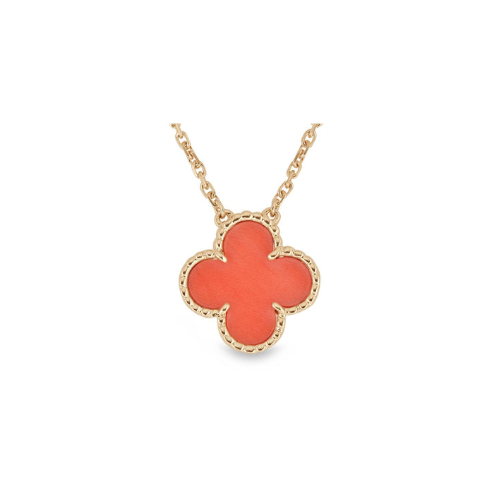 Van Cleef & Arpels 18K Yellow Gold Coral Single Motif Alhambra Pendant Necklace Length: 15""