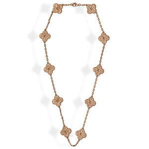 Van Cleef & Arpels 18K Rose Gold 10 Motif Alhambra Necklace Length: 17""