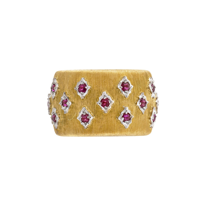 Mario Buccellati 18K Yellow and White Gold Ruby Ring Size: 6.75