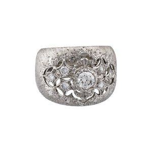 Mario Buccellati 18k White Gold Diamond Rings Size 6.25