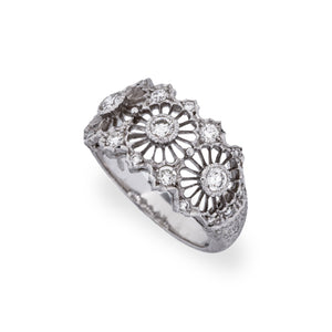 Mario Buccellati 18k White Gold Diamond Ring Size: 6.75
