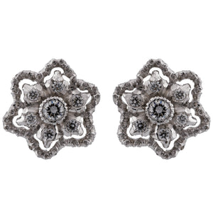 Mario Buccellati 18k White Gold Diamond Floral Earrings