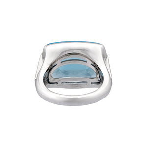 Bvlgari 18K White Gold Pyramid Topaz Ring Size 5