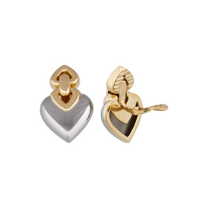 Bvlgari 18K Yellow Gold and Stainless Steel Heart Earrings