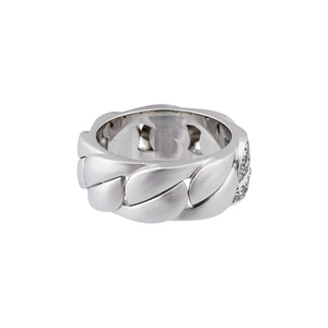 Cartier 18K White Gold Diamond Band Ring Size: 7