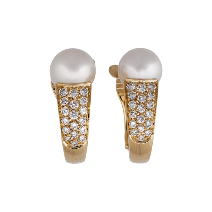 Boucheron 18K Yellow Gold Diamond & Pearl Earrings