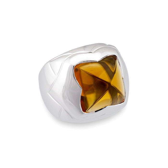 Bvlgari 18K White Gold Citrine Ring Size 6