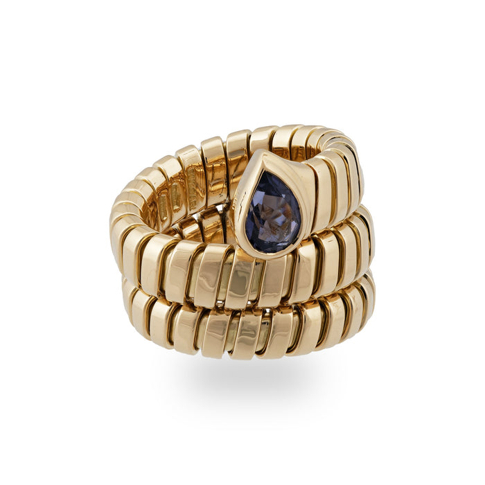 Bvlgari 18K Yellow Gold Amethyst Tubogas Ring Size 4.5 to 5 (Flexible)