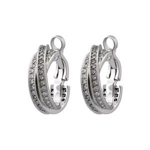 Cartier 18K White Gold Diamond Trinity Earrings
