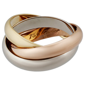 Cartier 18K Yellow, White and Rose Gold Trinity Ring Size 5.75