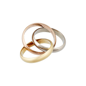 Cartier 18K Yellow, White and Rose Gold Trinity Ring Size 5.5