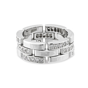 Cartier 18K White Gold Diamond Ring Size 6.5