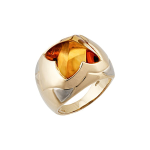Bvlgari 18K Yellow & White Pyramid Citrine Gold Ring Size 6.5