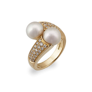 Boucheron 18K Yellow Gold Diamond and Pearl Crossover Ring Size 6.75