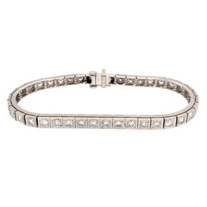 Elegant 14k White Gold Diamond Block Bracelet