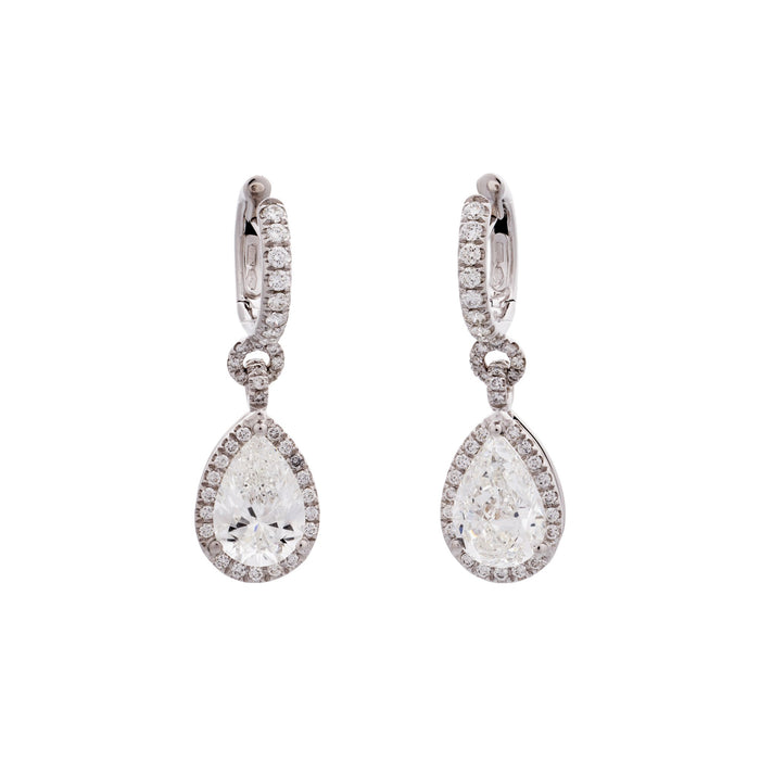 Estate GIA Certified 18K White Gold Diamond Drop Earrings with Halo Surrounds
