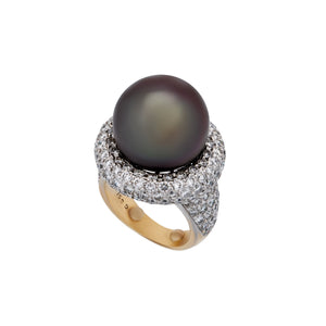 Estate 18K White Gold Black Pearl and Diamond Ring Size: 5.75