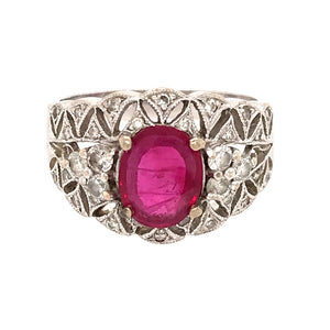 Antique Style 18k White Gold Ruby and Diamond Ring