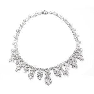Estate Platinum Marquise and Pear shaped Diamonds Necklace