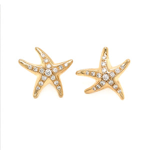 Tiffany and Co. Elsa Peretti 18K Yellow Gold Starfish Diamond Earrings