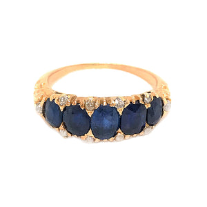 18k Yellow Gold Sapphire and Diamond Antique Ring