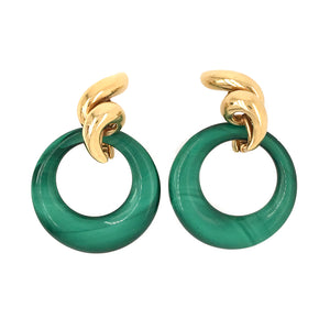 18k Yellow Gold Spiral Flame Earrings with Chalcedony Charm