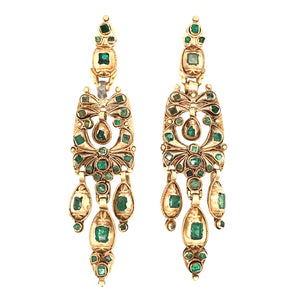 Antique Yellow Gold Emerald Hanging Earrings