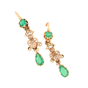 Antique 18k Yellow Gold Emerald and Diamond Dangle Earrings