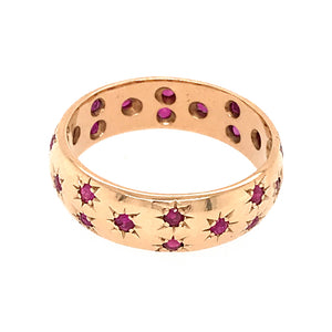 Tiffany and Co. 14k Yellow Gold Ruby Etoile Band Ring