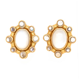 Elizabeth Locke 18k Moonstone Earrings