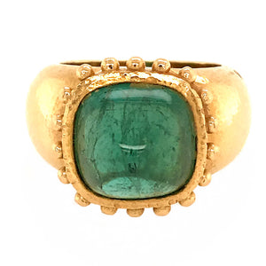 Elizabeth Locke Cabochon Green Tourmaline Ring