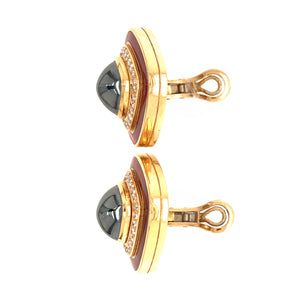 Tiffany and Co. 18k Yellow Gold Hematite Diamond Enamel Earrings