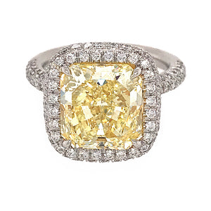 GIA Certified 5.35 Carat Fancy Intense Yellow Cushion in Micro Pave Ring