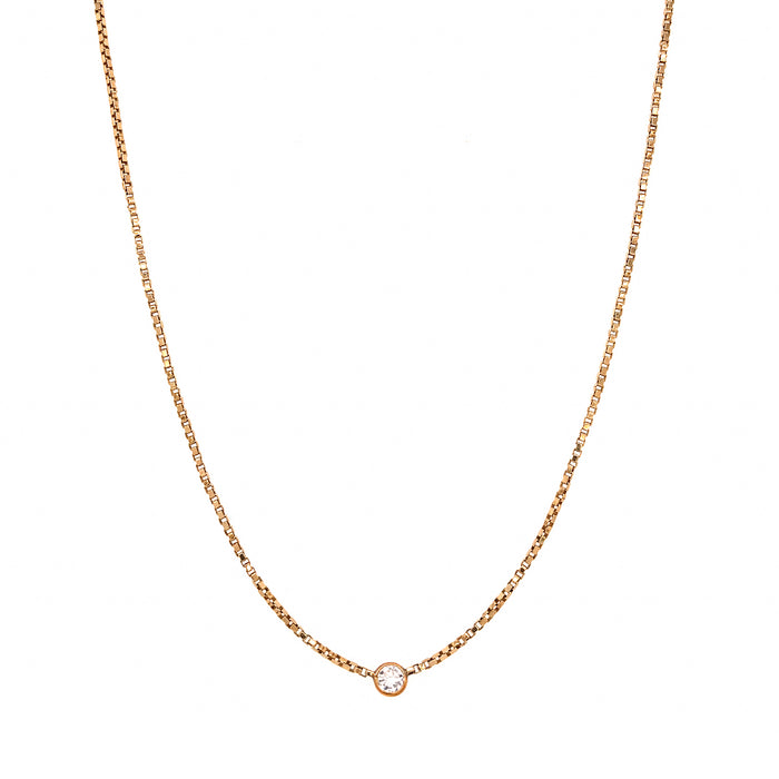 14k Yellow Gold Bezel Diamond Pendant Necklace