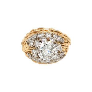 GIA Certified Vintage 18k Yellow Gold Dome Diamond Ring