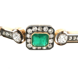 Antique Silver over 14K Yellow Gold Emerald and Diamond Bracelet