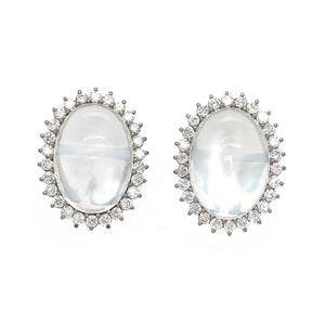 Vintage 18k White Gold Moonstone and Diamond Earrings