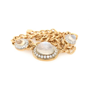VINTAGE 18K TWO TONE GOLD MOONSTONE AND DIAMOND CHAIN NECKLACE