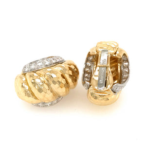 David Webb 18k Yellow Gold and Platinum Vintage Diamond Earrings