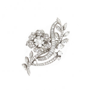 PLATINUM DIAMOND FLOWER BROOCH