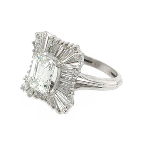 Platinum Emerald Cut Diamond Ballerina Ring