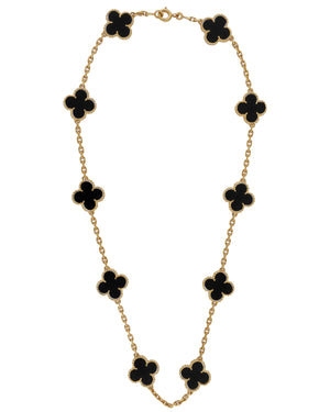 Van Cleef & Arpels 18K Yellow Gold Onyx Alhambra 10 Motif Necklace Size: 16