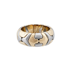 Bvlgari 18K Yellow Gold & Stainless Steel Parentesi Ring Size 6.5