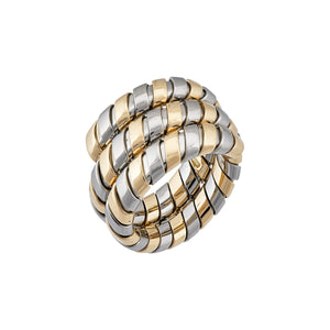 Bvlgari 18K Yellow Gold & Stainless Steel Tubogas Ring Size 6.75