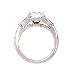 Tiffany and Co. Platinum GIA Certified 2.59 ct Emerald Cut Diamond Engagement Ring