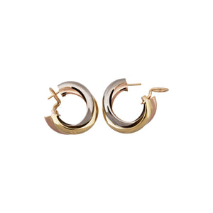 Cartier 18K Yellow, White, and Rose Gold Trinity Earrings