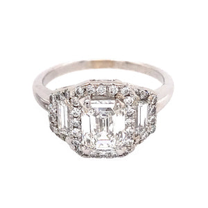 GIA Certified 1.33 Carat Emerald Cut Diamond Engagement Ring with Matching Diamond Band