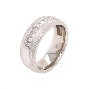 14k White Gold Gents Channel Set Princess Cut Diamond Ring