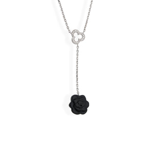 Chanel 18K White Gold Camelia Diamond Necklace Length: 16""